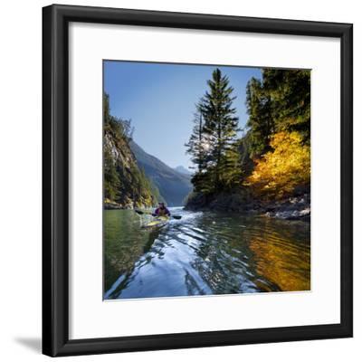 Woman Sea Kayaker on Lake Diablo, North Cascades National Park, Washington, USA-Gary Luhm-Framed Photographic Print