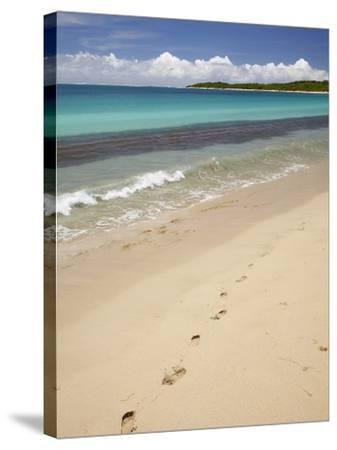 Footprints in Sand on Natadola Beach, Coral Coast, Viti Levu, Fiji, South Pacific-David Wall-Stretched Canvas Print