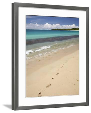 Footprints in Sand on Natadola Beach, Coral Coast, Viti Levu, Fiji, South Pacific-David Wall-Framed Photographic Print