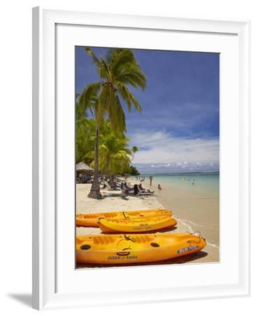 Kayaks and Beach, Shangri-La Fijian Resort, Yanuca Island, Coral Coast, Viti Levu, Fiji-David Wall-Framed Photographic Print
