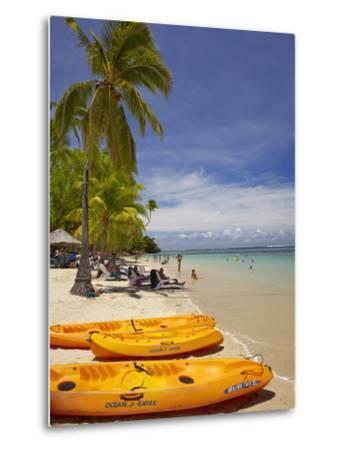 Kayaks and Beach, Shangri-La Fijian Resort, Yanuca Island, Coral Coast, Viti Levu, Fiji-David Wall-Metal Print