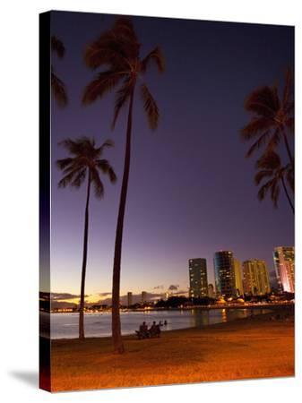 Ala Moana Beach Park, Waikiki, Honolulu, Oahu, Hawaii, USA-Douglas Peebles-Stretched Canvas Print