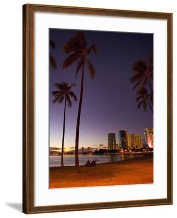 Ala Moana Beach Park, Waikiki, Honolulu, Oahu, Hawaii, USA-Douglas Peebles-Framed Photographic Print