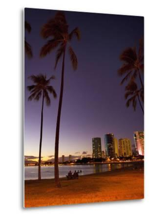 Ala Moana Beach Park, Waikiki, Honolulu, Oahu, Hawaii, USA-Douglas Peebles-Metal Print