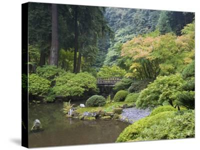 The Strolling Pond with Moon Bridge in the Japanese Garden, Portland, Oregon, USA-Greg Probst-Stretched Canvas Print