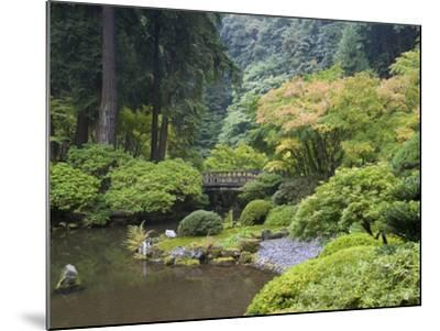 The Strolling Pond with Moon Bridge in the Japanese Garden, Portland, Oregon, USA-Greg Probst-Mounted Photographic Print