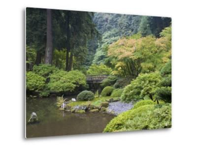 The Strolling Pond with Moon Bridge in the Japanese Garden, Portland, Oregon, USA-Greg Probst-Metal Print