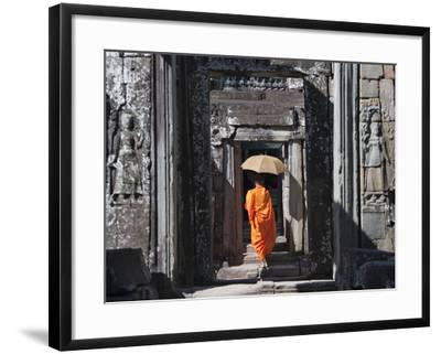Monk with Buddhist Statues in Banteay Kdei, Cambodia-Keren Su-Framed Photographic Print