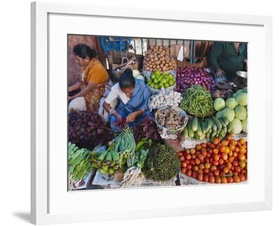 Selling Fruit in Local Market, Goa, India-Keren Su-Framed Photographic Print