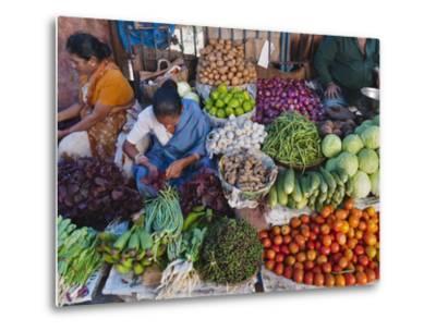 Selling Fruit in Local Market, Goa, India-Keren Su-Metal Print