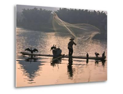 Fisherman Fishing with Cormorants on Bamboo Raft on Li River at Dusk, Yangshuo, Guangxi, China-Keren Su-Metal Print