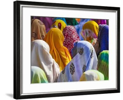 Women in Colorful Saris Gather Together, Jhalawar, Rajasthan, India-Keren Su-Framed Photographic Print