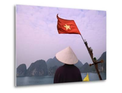 Girl with Conical Hat on a Junk Boat with National Flag and Karst Islands in Halong Bay, Vietnam-Keren Su-Metal Print