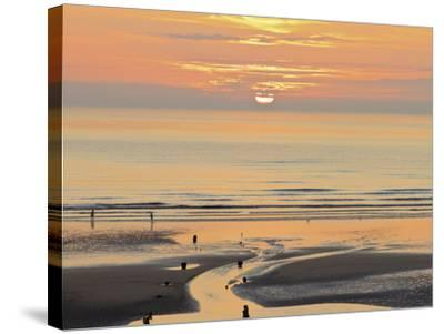 Sunset and Beach, Blackpool, England-Paul Thompson-Stretched Canvas Print