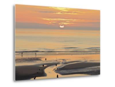 Sunset and Beach, Blackpool, England-Paul Thompson-Metal Print