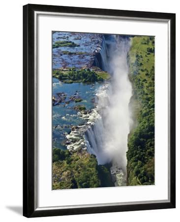 Aerial View of Victoria Falls, Waterfall, and the Zambesi River, Zimbabwe-Miva Stock-Framed Photographic Print