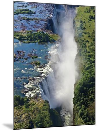 Aerial View of Victoria Falls, Waterfall, and the Zambesi River, Zimbabwe-Miva Stock-Mounted Photographic Print