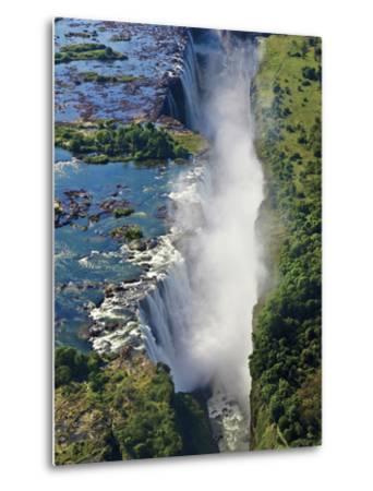 Aerial View of Victoria Falls, Waterfall, and the Zambesi River, Zimbabwe-Miva Stock-Metal Print
