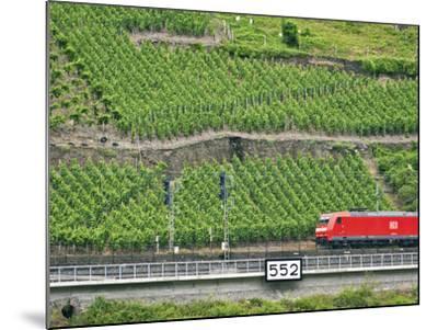 High Speed Train by Rhineland Vineyards, Koblenz, Germany-Miva Stock-Mounted Photographic Print