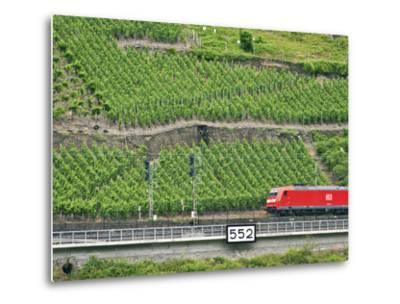 High Speed Train by Rhineland Vineyards, Koblenz, Germany-Miva Stock-Metal Print