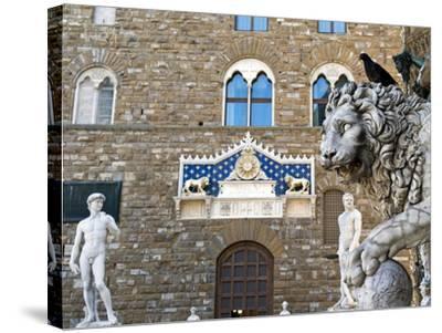 Palazzo Vecchio, Marzocco Lion and Statue of David, Piazza Della Signoria, UNESCO Heritage Site-Nico Tondini-Stretched Canvas Print