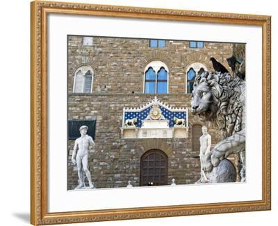 Palazzo Vecchio, Marzocco Lion and Statue of David, Piazza Della Signoria, UNESCO Heritage Site-Nico Tondini-Framed Photographic Print