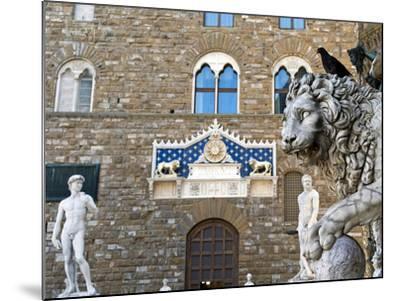 Palazzo Vecchio, Marzocco Lion and Statue of David, Piazza Della Signoria, UNESCO Heritage Site-Nico Tondini-Mounted Photographic Print