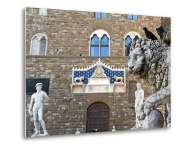 Palazzo Vecchio, Marzocco Lion and Statue of David, Piazza Della Signoria, UNESCO Heritage Site-Nico Tondini-Metal Print