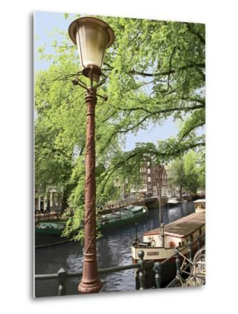 Old Gas Lamp Post and Bicycles on a Bridge over a Canal in Amsterdam, the Netherlands-Miva Stock-Metal Print