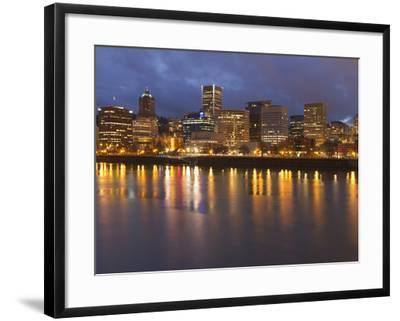 City Lights Reflected in the Willamette River, Portland, Oregon, USA-William Sutton-Framed Photographic Print