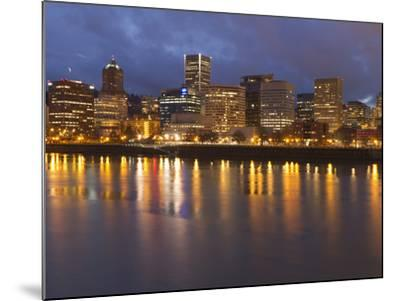 City Lights Reflected in the Willamette River, Portland, Oregon, USA-William Sutton-Mounted Photographic Print