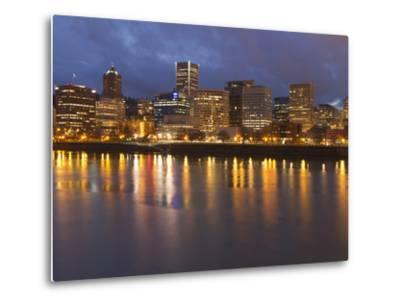 City Lights Reflected in the Willamette River, Portland, Oregon, USA-William Sutton-Metal Print