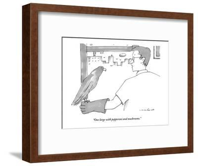 """One large with pepperoni and mushrooms."" - New Yorker Cartoon-Michael Crawford-Framed Premium Giclee Print"