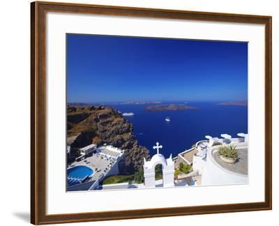 View of Caldera from Imerovigli, Santorini, Cyclades, Greek Islands, Greece, Europe-Sakis Papadopoulos-Framed Photographic Print