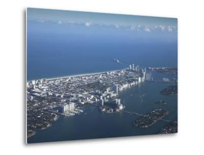 Aerial View of Miami Beach, Florida, United States of America, North America-Angelo Cavalli-Metal Print