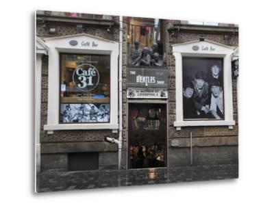 Beatles Shop, Mathew Street, Liverpool, Merseyside, England, United Kingdom, Europe-Wendy Connett-Metal Print