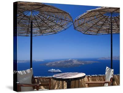 Terrace Overlooking the Caldera, Santorini, Cyclades, Greek Islands, Greece, Europe-Sakis Papadopoulos-Stretched Canvas Print