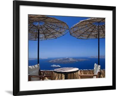 Terrace Overlooking the Caldera, Santorini, Cyclades, Greek Islands, Greece, Europe-Sakis Papadopoulos-Framed Photographic Print
