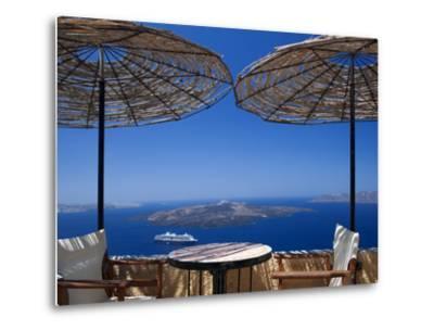 Terrace Overlooking the Caldera, Santorini, Cyclades, Greek Islands, Greece, Europe-Sakis Papadopoulos-Metal Print
