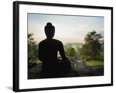 Stone Buddha Silhouetted at Sunrise, Borobudur Temple, UNESCO World Heritage Site, Java, Indonesia-Matthew Williams-Ellis-Framed Photographic Print
