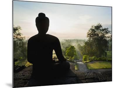 Stone Buddha Silhouetted at Sunrise, Borobudur Temple, UNESCO World Heritage Site, Java, Indonesia-Matthew Williams-Ellis-Mounted Photographic Print
