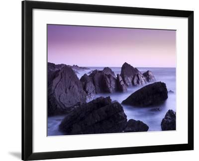 Waves Moving over Jagged Rocks at Hartland Quay, Cornwall, England, United Kingdom, Europe-Ian Egner-Framed Photographic Print