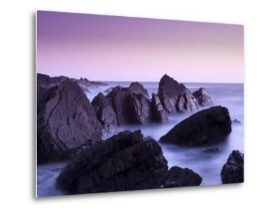 Waves Moving over Jagged Rocks at Hartland Quay, Cornwall, England, United Kingdom, Europe-Ian Egner-Metal Print