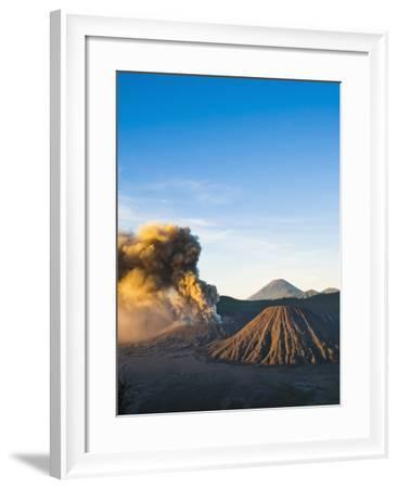 Mount Bromo Volcano Erupting at Sunrise, Sending Volcanic Ash High into Sky, East Java, Indonesia-Matthew Williams-Ellis-Framed Photographic Print