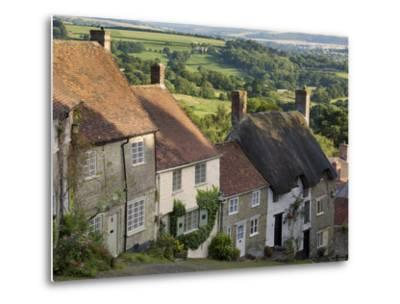 Gold Hill, and View over Blackmore Vale, Shaftesbury, Dorset, England, United Kingdom, Europe-Neale Clarke-Metal Print