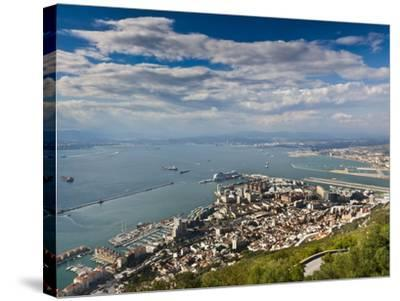 Bay of Gibraltar and Gibraltar Town from the Top of the Rock, Gibraltar, Europe-Giles Bracher-Stretched Canvas Print