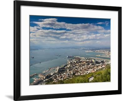 Bay of Gibraltar and Gibraltar Town from the Top of the Rock, Gibraltar, Europe-Giles Bracher-Framed Photographic Print