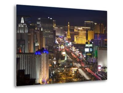 Elevated View of the Hotels and Casinos Along the Strip at Dusk, Las Vegas, Nevada, USA-Gavin Hellier-Metal Print