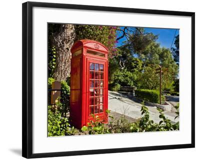 Red Telephone Box, Alameda Gardens, Gibraltar, Europe-Giles Bracher-Framed Photographic Print
