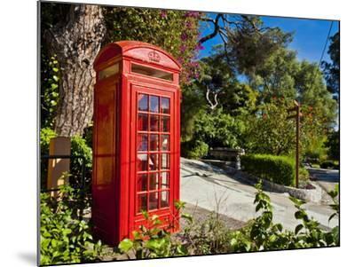 Red Telephone Box, Alameda Gardens, Gibraltar, Europe-Giles Bracher-Mounted Photographic Print
